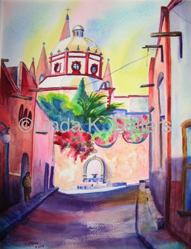 """Church in Mexico"" watercolor on paper, 10.5""X14"" $250"