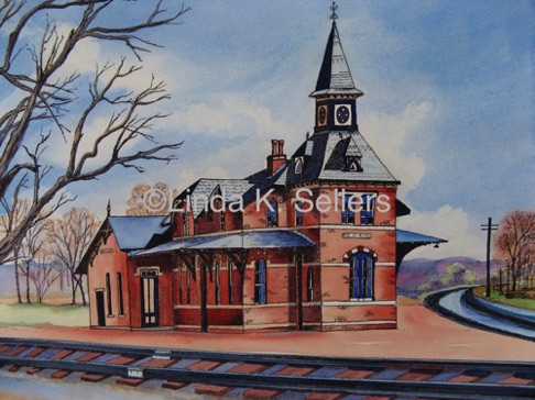 """Old Train Station"" watercolor on paper, 14.25""X10.25"" $295"