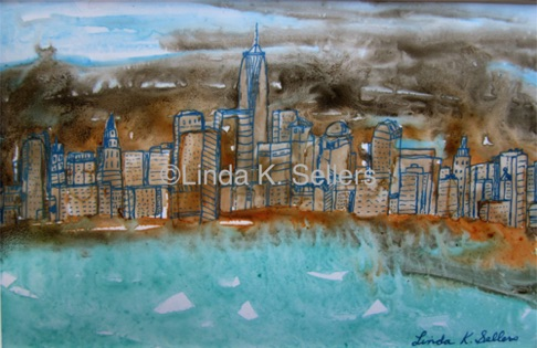 """Cityscape New York"" watercolor & ink on Yupo paper 5.5""X8.5"" $75"