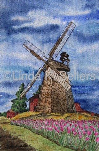 """Windmill and Tulips"" watercolor & ink on paper, 7""X10.5"" $150"