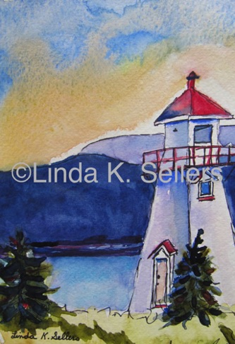 """Red Roof Lighthouse"" watercolor & ink on paper, 5""X7"" $75"