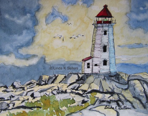 """Weathered Lighthouse"" watercolor, 5.5""X7.5"" $75"