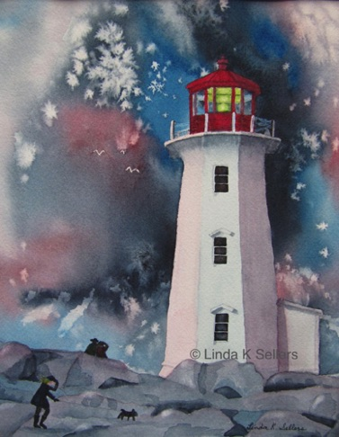 """Lighthouse on Guard"" watercolour on paper, 8.25""X10.5"" SOLD, prints available $35"