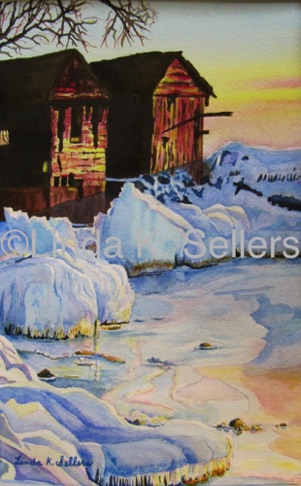 """Icy Boathouses"" watercolour on paper, 7""X10"" $150"