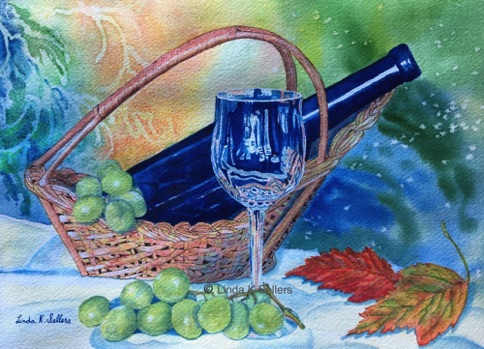 """Blue Bottle Wine"" watercolor, 8.5""X11.5"" $195"