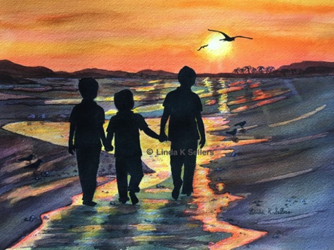 """Brothers Stroll"" watercolour, 11.5""X8.5"" $150"