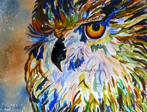 """Winking Owl"" watercolour on paper, 9.5""X7.5"" $150"