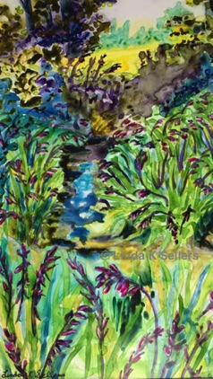 """Garden Stream"" watercolour on yup paper, 6""X10"" $100"
