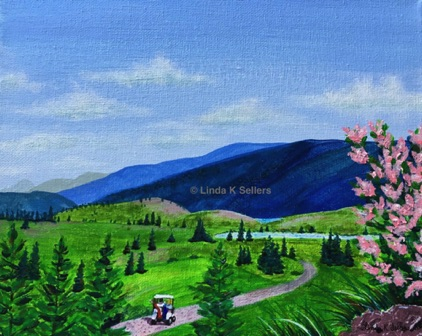 """Golf Course View"" acrylic on canvas, 8""X10"" $150"
