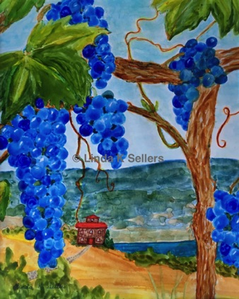 """Grapes for Wine"" watercolour on yupo paper, 8.25""X10.25"" $150"