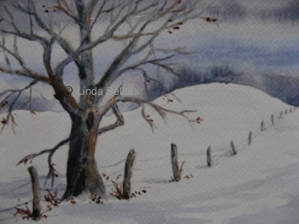 """The Old Tree"" watercolour on paper, 7.75""X5.25"" $75"