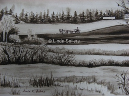 """Armstrong Fields"" sepia watercolour on paper, 7.25""X5.25"" $75"