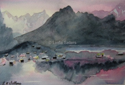 """Pink and Gray Reflections"" watercolour on paper, 7.25""X5.25"" SOLD. Prints @ $35"