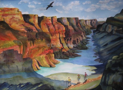"""Grand Canyon Hike"" watercolour on paper, 19""X13"" $325"