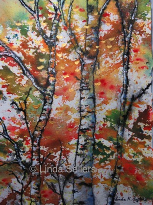 """Birch in Autumn"" mixed media on paper, 7.5""X11.25"" $150"