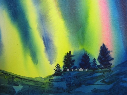 """Northern Lights 2"" watercolour on paper, 11""X9"" $195"