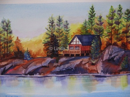 """Cottage on the Rock"" watercolour on paper, 14""X10.25"" $225"