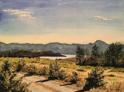 """Okanagan Lake View"" watercolor, 16""X12"" SOLD; Prints $35"