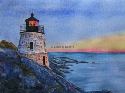 """Sunset Lighthouse"" watercolour and ink on paper, 10""X7"" $150"