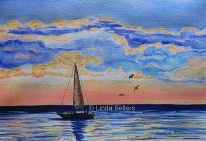 """Sunset Sail"" watercolour and ink on paper, 10""X7"" $150"