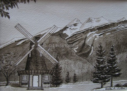 """Dutch in the Mountains"" sepia watercolor on paper, 7.25""X5.25"" $75"