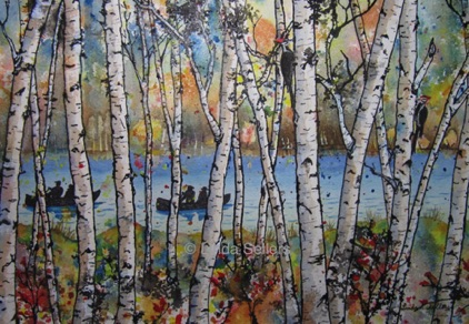 """Tranquil Birch"" mixed media on paper, 14""X10"" $225"