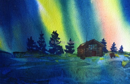 """Northern Lights 1"" watercolour on paper, 11""X9"" $195"