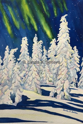 """Northern Winter"" watercolor; 8""X10"" $150"