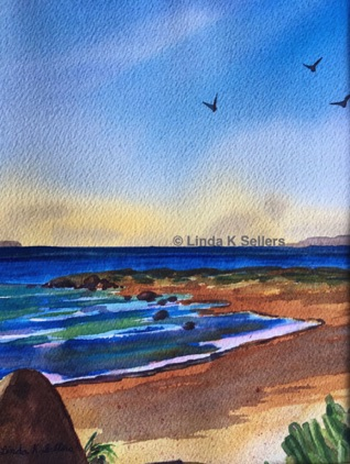 """Seashore Tranquility"" 8""X10"", watercolour $150"