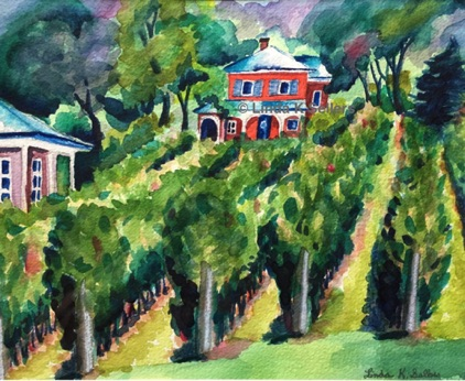 """Vineyard Visit"" watercolor; 9.5""X7"" $150"